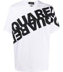 dsquared2 mirrored logo cotton t-shirt - white