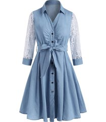 lace sleeve chambray belt shirt dress