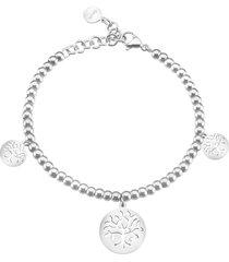 bracciale charms albero della vita in acciaio e cristalli per donna
