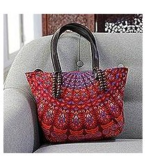 leather accented cotton shoulder bag, 'rajasthani garden in maroon' (india)