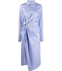 the attico side ruched detail shirt dress - blue