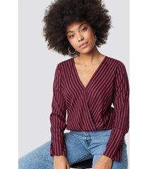 rut&circle alex stripe wrap blouse - red,multicolor