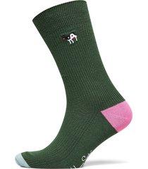 ribbed embroidery ying yang cow sock underwear socks regular socks grön happy socks