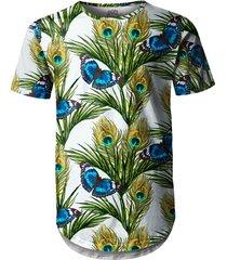 camiseta longline over fame borboletas floral