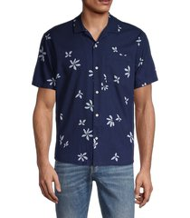 madewell men's easy-fit floral short-sleeve shirt - floating feather print white - size m