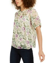 inc petite floral-print puff-sleeve blouse, created for macy's