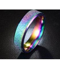 6mm anello per coppia in acciaio inossidabile magico smerigliato personalizzato in colore iridescente dell'acrcobaleno nero