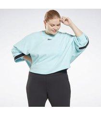 trui reebok sport studio cropped french terry crew sweatshirt (plus size)