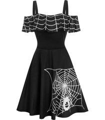 halloween spider web print cold shoulder skater dress
