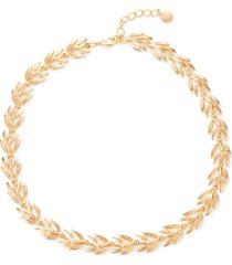 "charter club gold-tone leaf all-around necklace, 17"" + 2"" extender, created for macy's"