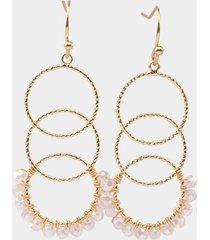 daniela circle drop linear earrings - pale pink