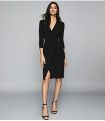 reiss brie - knitted wrap front bodycon dress in black, womens, size xl