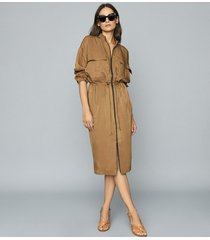 reiss sylvie - utility shirt dress in mid brown, womens, size 14