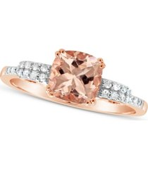 morganite (1-1/4 ct. t.w.) and diamond (1/10 ct. t.w.) ring in 14k rose gold-plated sterling silver