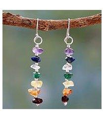 multi gemstone chakra earrings, 'jubilance' (india)