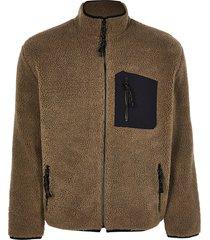 river island mens brown borg zip through jacket