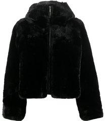 fusalp mongie faux-fur hooded jacket - black