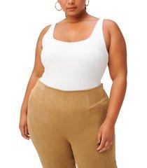 women's good american square neck thong bodysuit, size 3 - white