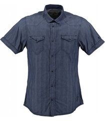 garcia indigo blauw slim fit overhemd