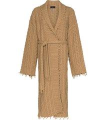 alanui fisherman cable-knit longline cardigan - brown