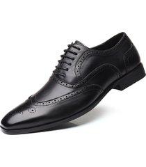 hombres zapatos de boda de cuero oxford de punta puntiaguda