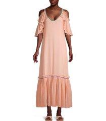 pitusa women's camille dress cover-up - peach - size petite (xxs-xs-s)