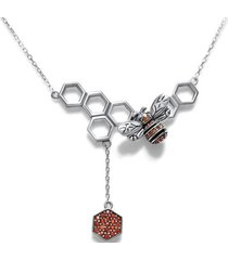 collar panel abejas casual naranja arany joyas