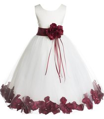 floral petals rose tulle ivory flower girl dress bridesmaid pageant easter 007