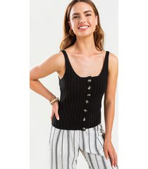 women's cody button front sweater tank top in black by francesca's - size: l