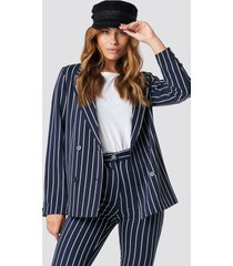 na-kd classic navy striped blazer - blue