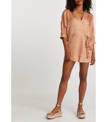 river island womens copper long sleeve tie front playsuit