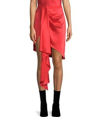 asymmetrical silk mini skirt