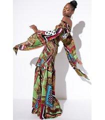 akira patchwork off the shoulder maxi dress