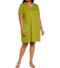 plus size women's eileen fisher traceable stretch organic cotton t-shirt dress