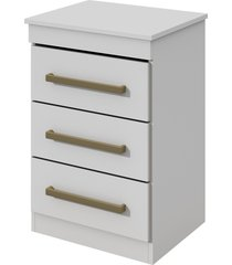mesa de cabeceira baiao 3 gavetas branco mã³veis lopas - branco - dafiti