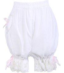 white cotton pink ribbon victorian bloomers shorts pumpkin pants