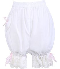 white cotton pink ribbon victorian bloomers shorts pumpkin pants