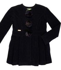 casaco lá com pompom removível gingga baby e kids preto lara - tricae