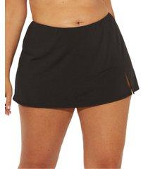 bleu by rod beattie plus size slit swim skirt women's swimsuit