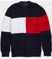 tommy hilfiger men's adaptive icon crewneck sweater sky captain - xl