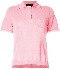 mr & mrs italy frayed hem polo shirt - pink