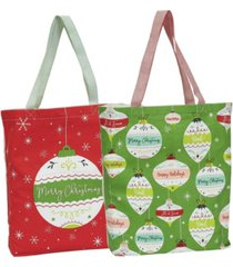 design imports 2-pc. printed ornaments tote set