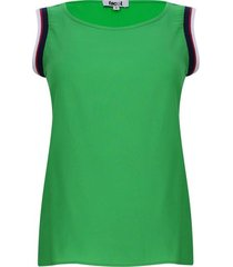 blusa manga sisa con resorte color verde, talla 10