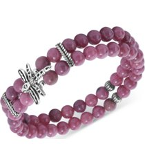 american west rhodonite bead & dragonfly double strand stretch bracelet in sterling silver