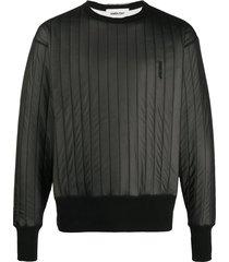 ambush embroidered logo quilted sweatshirt - black