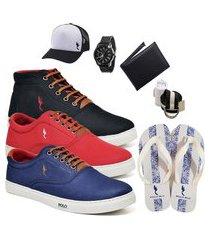 kit 3 pares sapatênis polo blu casual cano alto e cano baixo preto/vermelho/azul acompanha boné + cinto + meia + carteira + relógio + chinelo