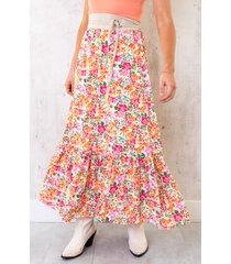 maxi rok bloemen multicolor