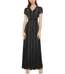 bcbgmaxazria swiss-dot ruffled maxi dress