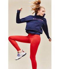 tommy hilfiger women's stretch fleece cropped hoodie navy - xl