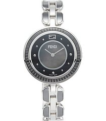 stainless steel, black mother-of-pearl & fox fur-trim bracelet watch